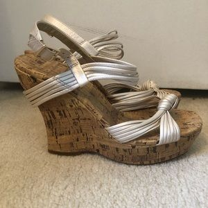 Jessica Simpson Strappy pearl cork wedges.